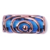 Glass Lamp Bead 20/8mm Roller Transparent Blue/Bronze